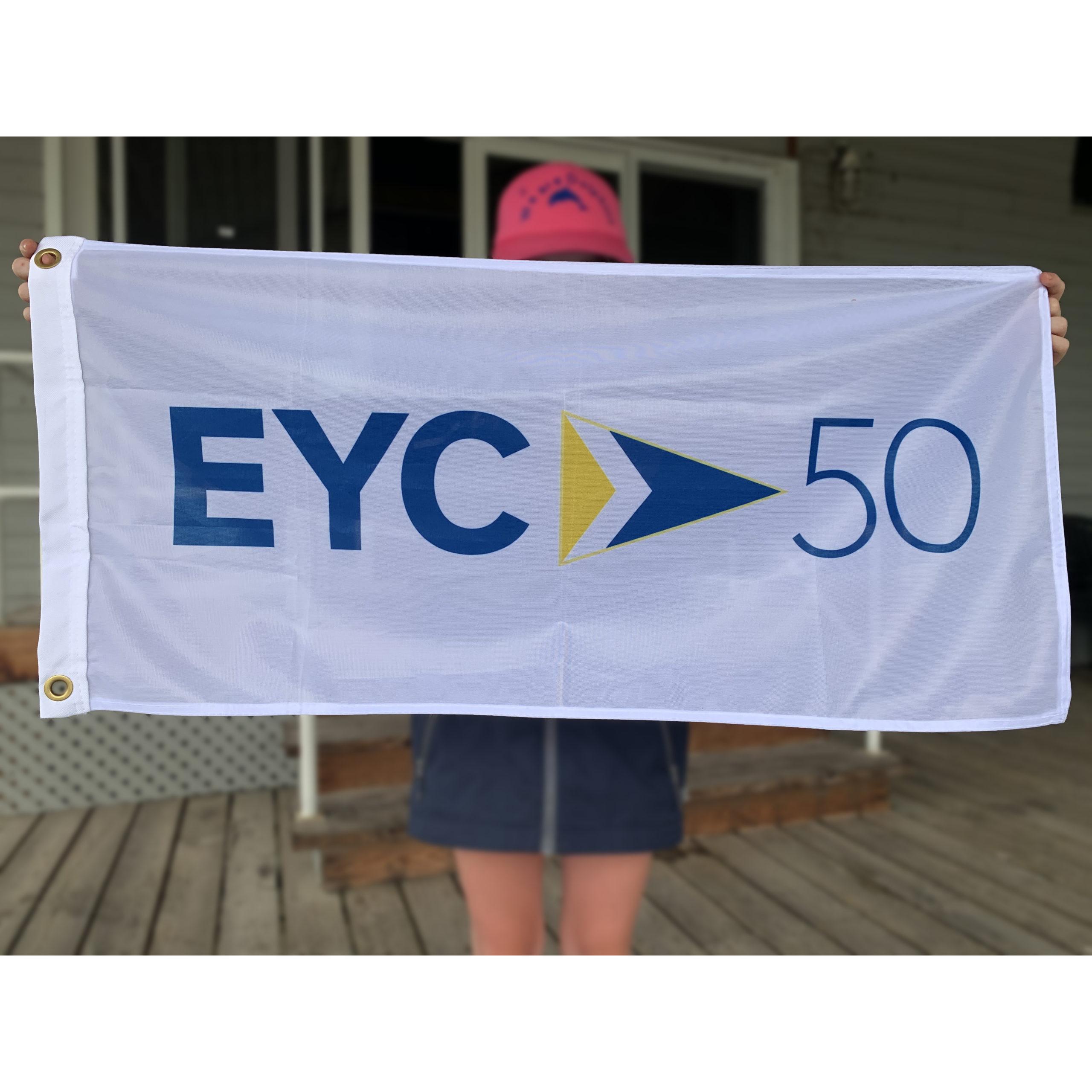 """EYC 50th Anniversary Flag 18"""" x 36"""" - $25"""