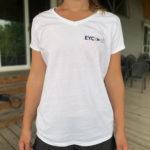 Ladies' V-neck T-shirt, EYC 50 Logo, White - $25