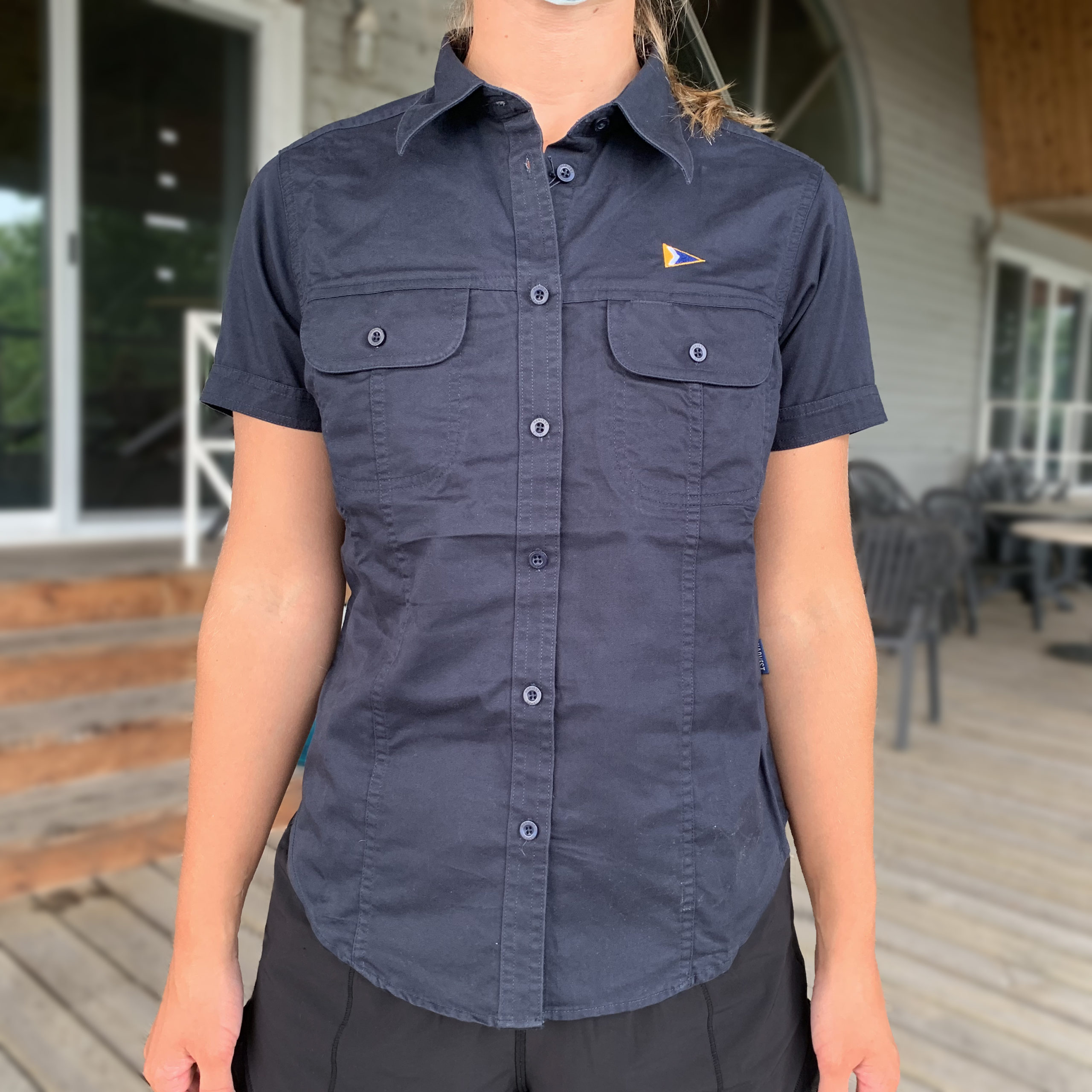 Ladies' Twill Shirt, Navy - $30