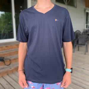 Men's V-neck T-shirt, Navy- $20